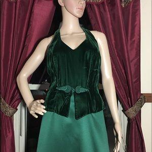 Dresses & Skirts - Green Velvet Halter Evening Gown